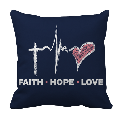 PT Pillow Cases Pillow Cases / Navy Faith Hope Love