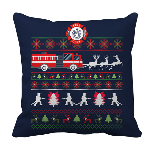 PT Pillow Cases Pillow Cases / Navy Limited Edition - Firefighter Christmas