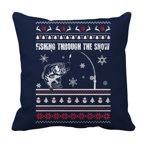 PT Pillow Cases Pillow Cases / Navy Limited Edition - Fishing Christmas