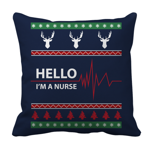 PT Pillow Cases Pillow Cases / Navy Limited Edition - Hello I'm A Nurse Christmas