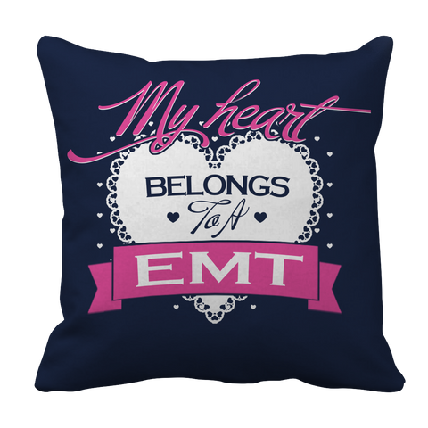 PT Pillow Cases Pillow Cases / Navy Limited Edition - My Heart Belongs to A EMT