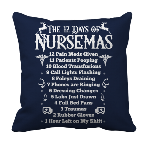 PT Pillow Cases Pillow Cases / Navy Limited Edition - The 12 Days of Nursemas