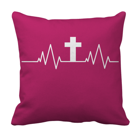 PT Pillow Cases Pillow Cases / Pink Christian Heartbeat Cross