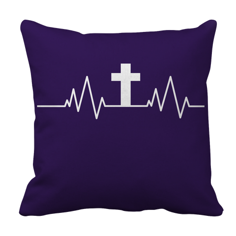 Image of PT Pillow Cases Pillow Cases / Purple Christian Heartbeat Cross