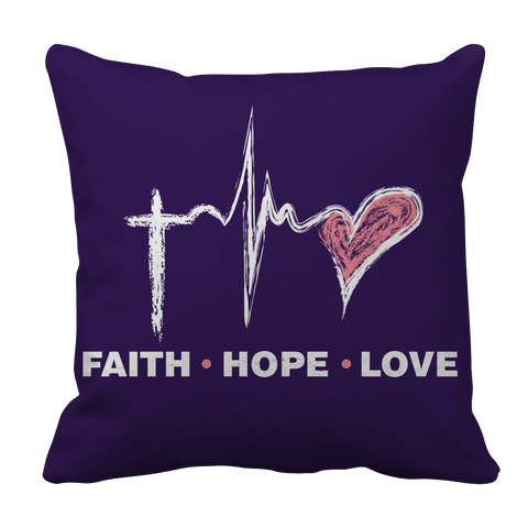 PT Pillow Cases Pillow Cases / Purple Faith Hope Love