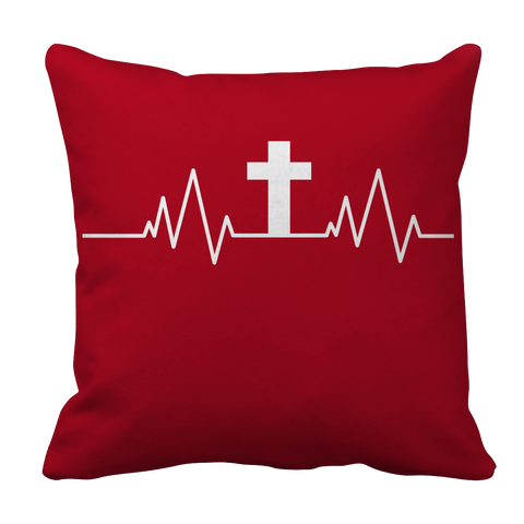 Image of PT Pillow Cases Pillow Cases / Red Christian Heartbeat Cross