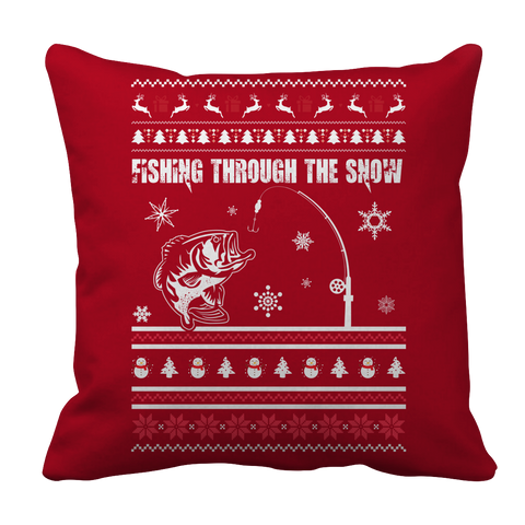 PT Pillow Cases Pillow Cases / Red Limited Edition - Fishing Christmas