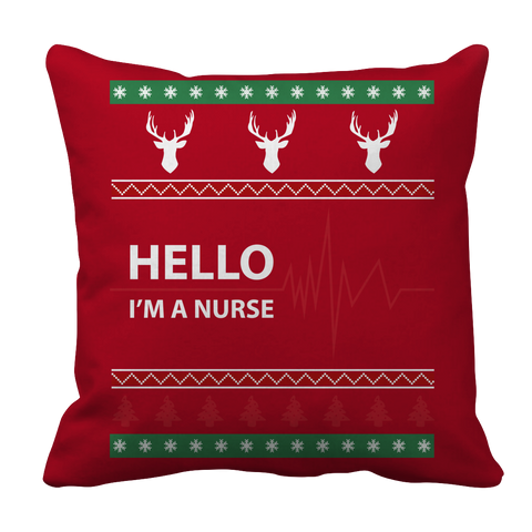 PT Pillow Cases Pillow Cases / Red Limited Edition - Hello I'm A Nurse Christmas