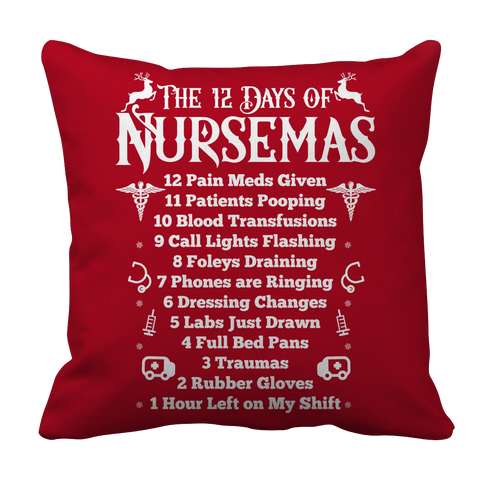 PT Pillow Cases Pillow Cases / Red Limited Edition - The 12 Days of Nursemas