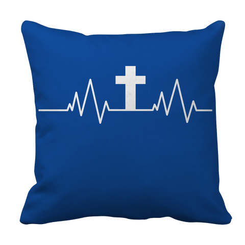 Image of PT Pillow Cases Pillow Cases / Royal Christian Heartbeat Cross