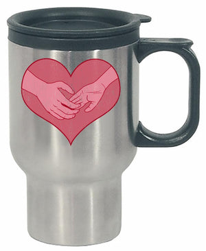 Kent Prints Stainless Steel Travel Mug 16oz / Silver Hand holding in a heart universal grunge - Stainless Steel Travel Mug