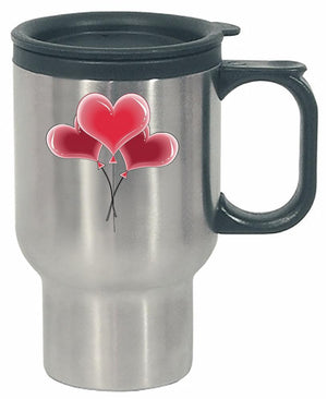 Kent Prints Stainless Steel Travel Mug 16oz / Silver Heart balloons universal - Stainless Steel Travel Mug