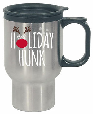Kent Prints Stainless Steel Travel Mug 16oz / Silver Holiday Hunk Christmas - Stainless Steel Travel Mug