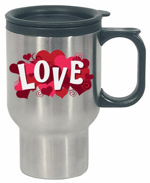 Kent Prints Stainless Steel Travel Mug 16oz / Silver Love sign with hearts universal - Stainless Steel Travel Mug