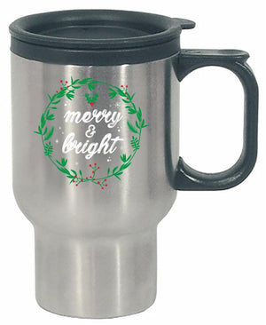 Kent Prints Stainless Steel Travel Mug 16oz / Silver Merry and Bright-FA - Stainless Steel Travel Mug