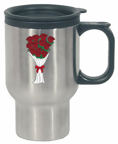 Kent Prints Stainless Steel Travel Mug 16oz / Silver Valentine's Day roses universal - Stainless Steel Travel Mug