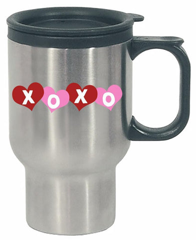 Kent Prints Stainless Steel Travel Mug 16oz / Silver XOXO hearts universal grunge - Stainless Steel Travel Mug