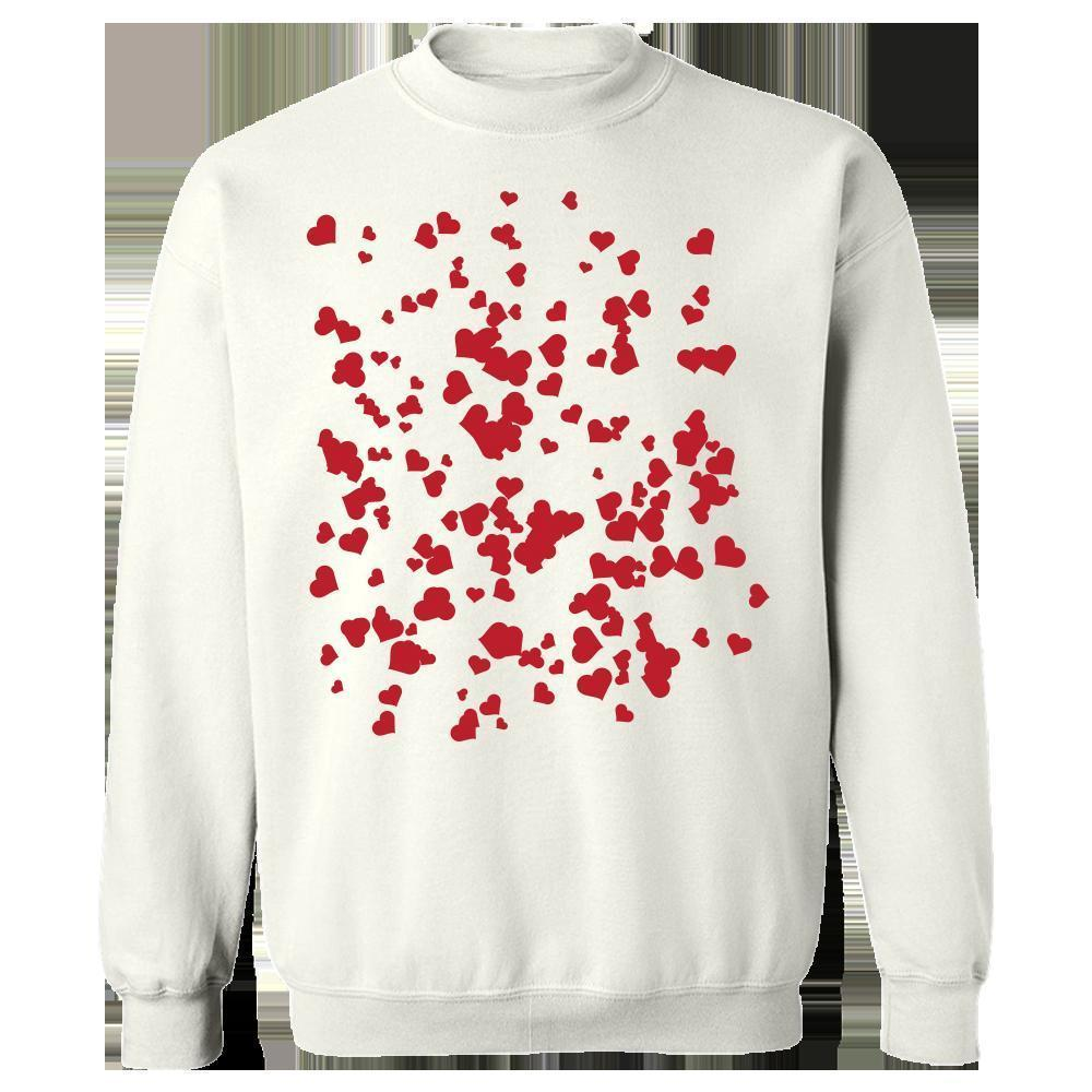 Kent Prints Sweatshirt 5XL / White Hearts background pattern universal - Sweatshirt