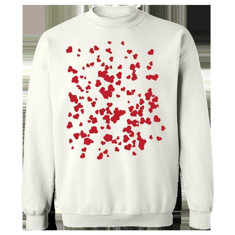 Image of Kent Prints Sweatshirt 5XL / White Hearts background pattern universal - Sweatshirt