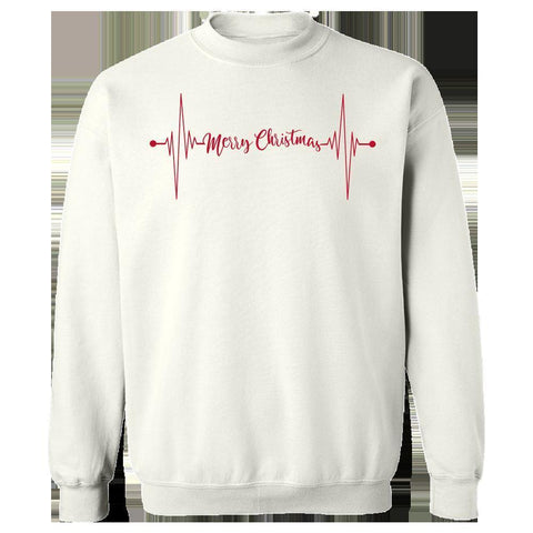 Image of Kent Prints Sweatshirt L / White Heartbeat Merry Christmas - Sweatshirt