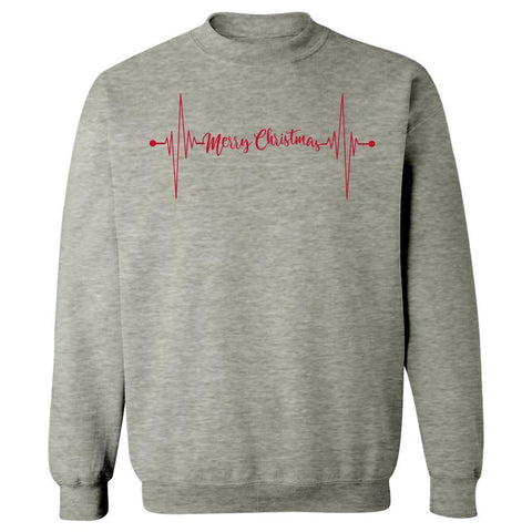 Kent Prints Sweatshirt M / Ash Grey Heartbeat Merry Christmas - Sweatshirt