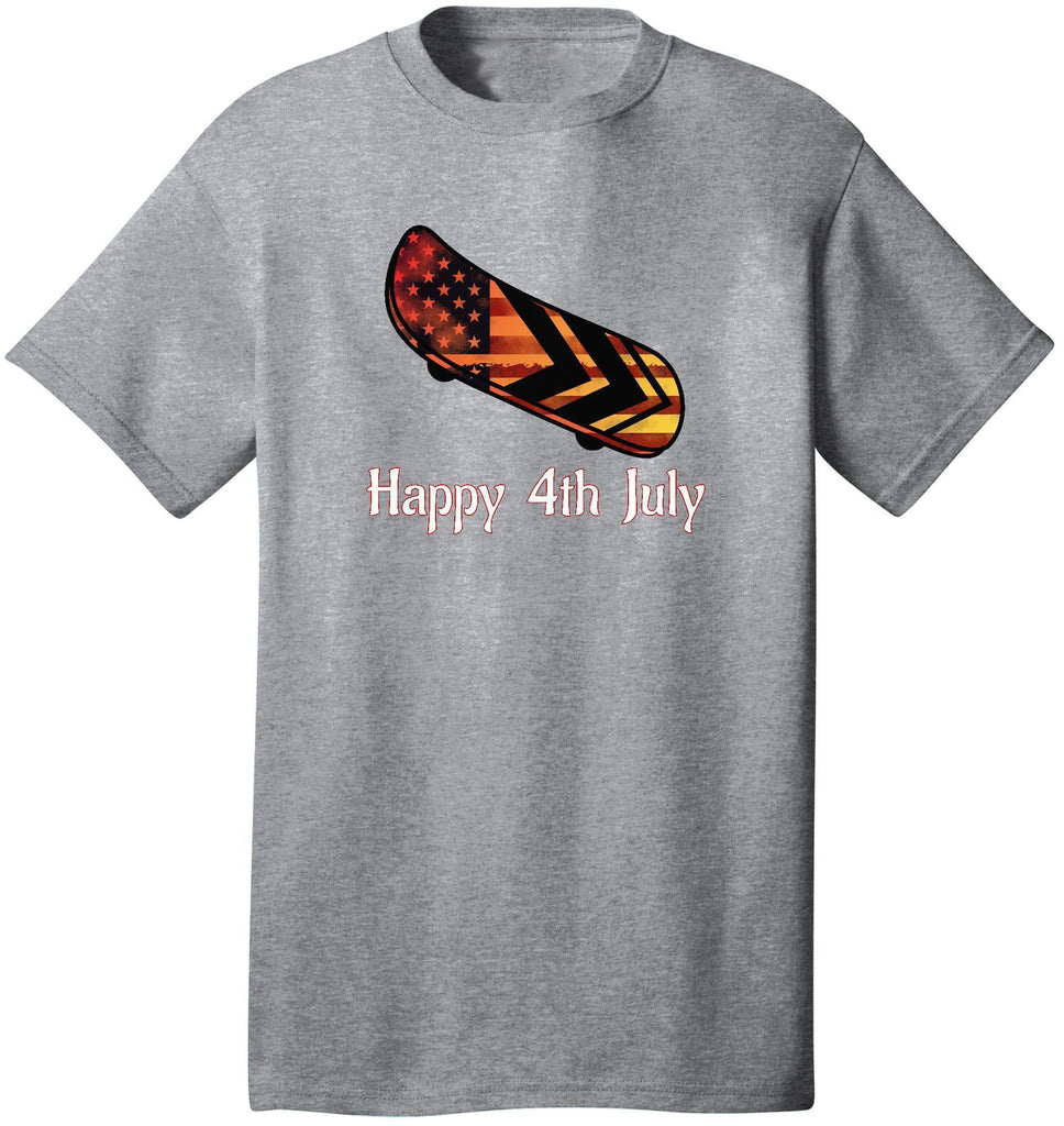 Kent Prints Unisex Shirt S / Athletic Heather Happy 4th July Skateboard - Unisex T Shirt