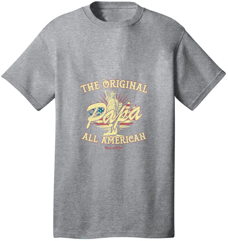 Kent Prints Unisex Shirt S / Athletic Heather The Original Papa All American - Unisex T Shirt