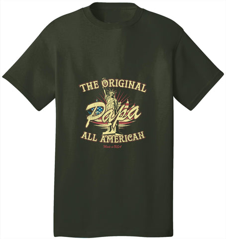 Kent Prints Unisex Shirt S / Olive The Original Papa All American - Unisex T Shirt