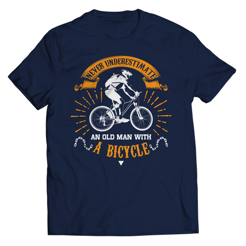 PT Unisex Shirt Unisex Shirt / Navy / S Old Man With A Bicycle (Unisex Tee)
