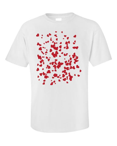 Kent Prints Unisex T-Shirt 5XL / White Hearts background pattern universal - Unisex T-Shirt