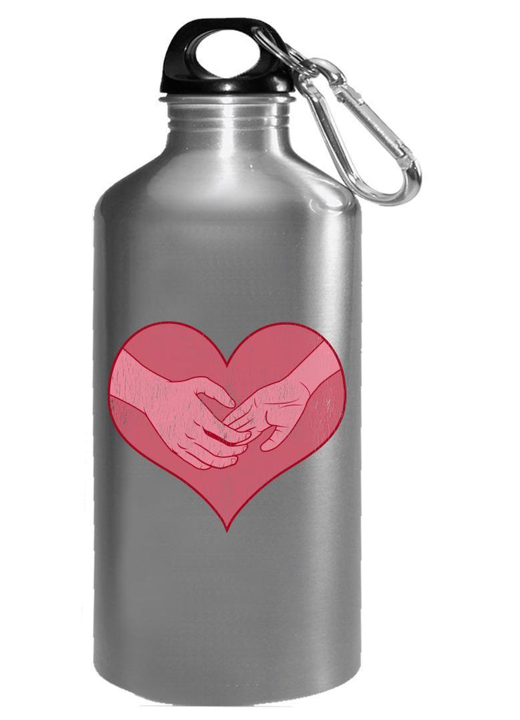 Kent Prints Water Bottle 16oz / Silver Hand holding in a heart universal grunge - Water Bottle