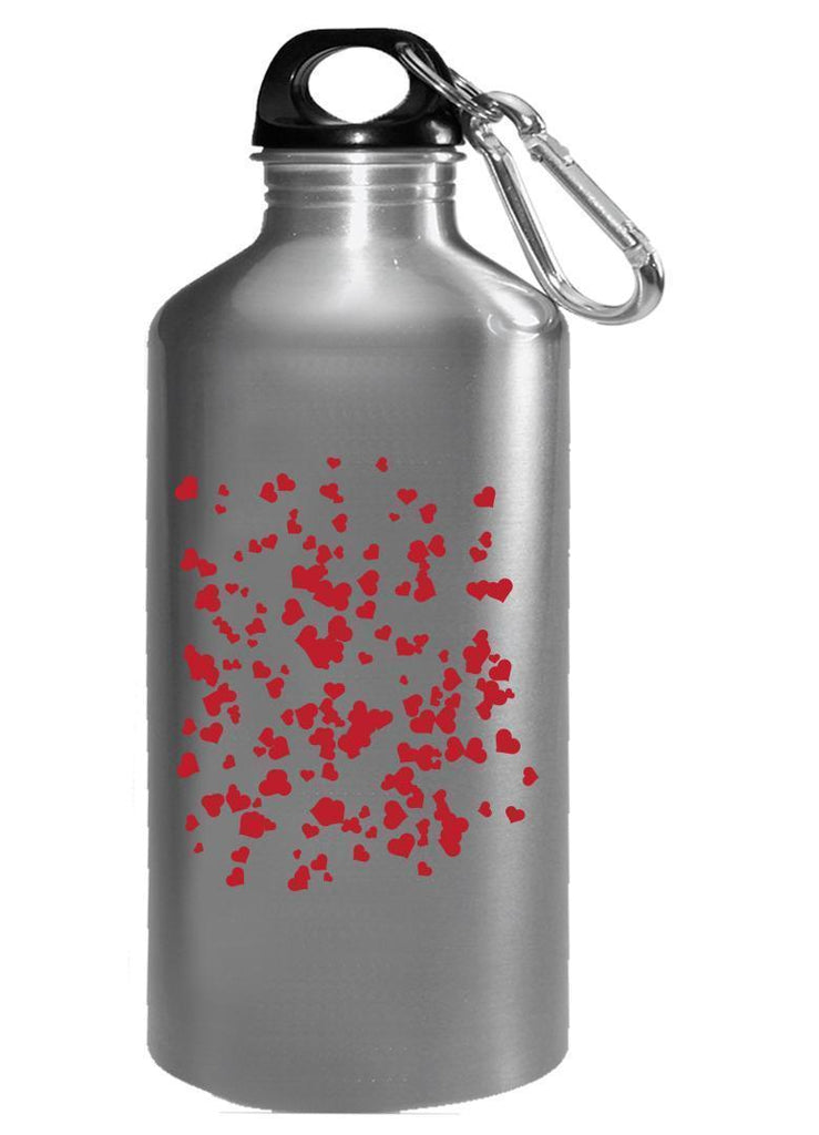 Kent Prints Water Bottle 16oz / Silver Hearts background pattern universal - Water Bottle