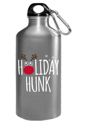 Kent Prints Water Bottle 16oz / Silver Holiday Hunk Christmas - Water Bottle