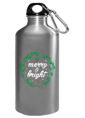 Kent Prints Water Bottle 16oz / Silver Merry and Bright-FA - Water Bottle