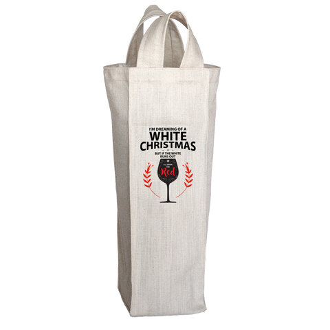 PT Wine Tote Bags Wine Tote Bags / White / O/S I'm Dreaming Of A White Christmas Wine Tote Bag