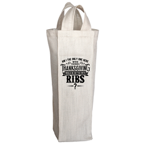 PT Wine Tote Bags Wine Tote Bags / White / O/S Limited Edition - Ribs For Thanksgiving