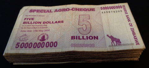 5 Billion Zimbabwe Dollars Special Agro-Cheque x 100 BankNotes Bundle