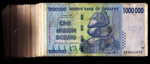 1 Million Zimbabwe Dollars Bank Note x 100 Bank Notes Bundle