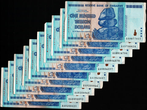10 x 100 Trillion Zimbabwe Dollars Bank Notes