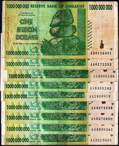 10 x 1 Billion Zimbabwe Dollars Bank Notes