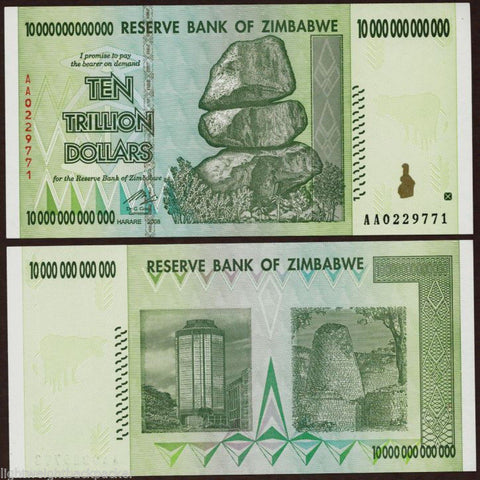 10 Trillion Zimbabwe Dollars Bank Note
