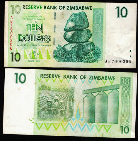 10 Zimbabwe Dollars Bank Note