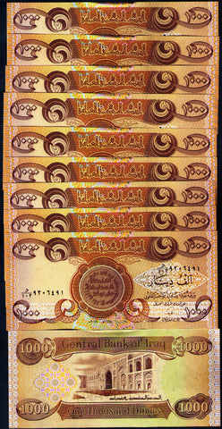 10 x 1000 Iraq Dinar BankNotes Uncirculated