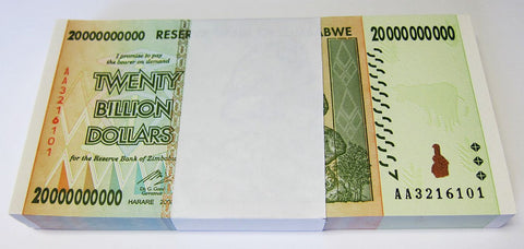 20 Billion Zimbabwe Dollars Bank Note x 100 Bank Notes [UNC] Bundle