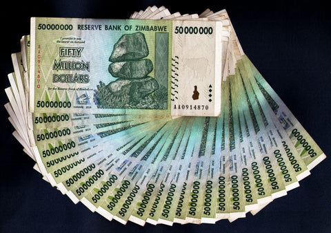 50 Million Zimbabwe Dollars Bank Note x 25 Bank Notes [¼Bundle]
