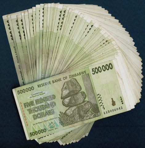 500 Thousand Zimbabwe Dollars x 50 Bank Notes [½Bundle]