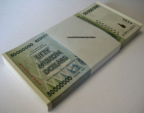 100 x 50 Million Zimbabwe Dollars Bank Note Bundle [UNC]