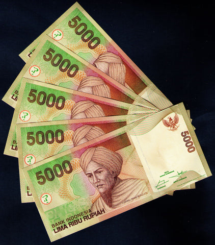 5 x 5,000 Indonesia Rupiah BankNotes