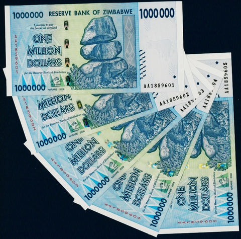 5 x 1 Million Zimbabwe Dollars Bank Notes [UNC]