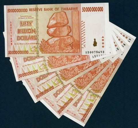 5 x 50 Billion Zimbabwe Dollars Bank Notes